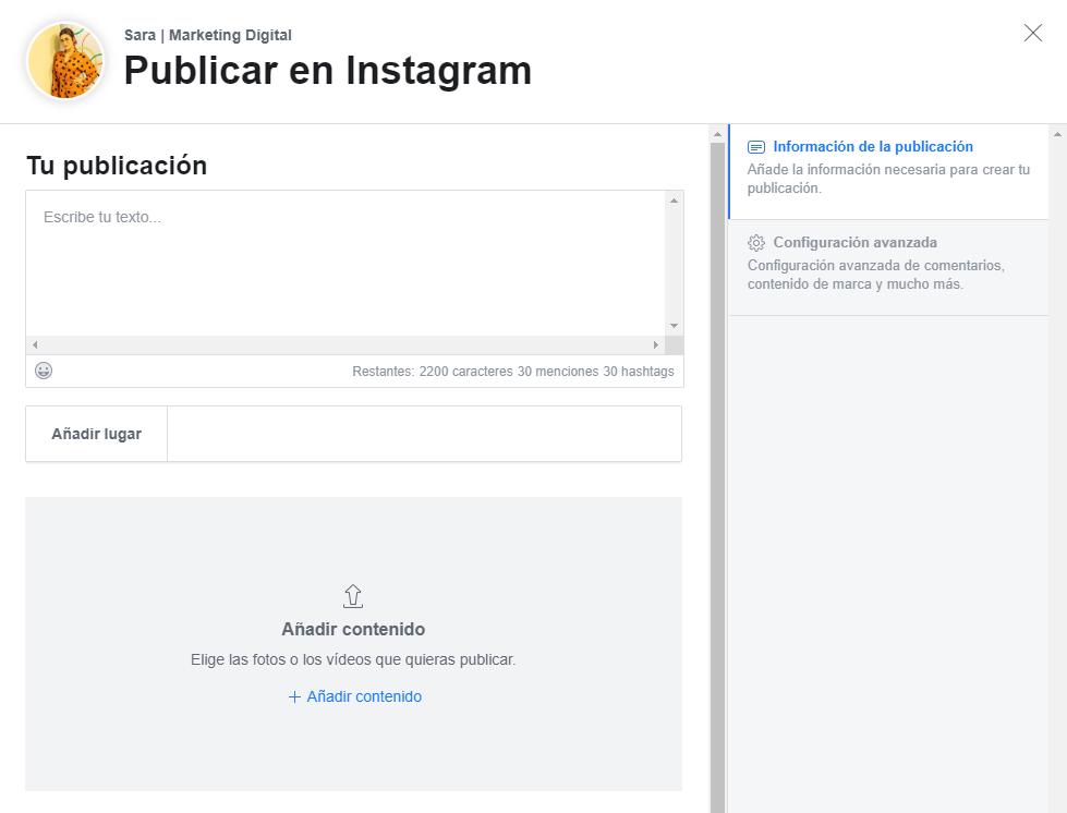 Facebook Creator Studio herramienta programar instagram